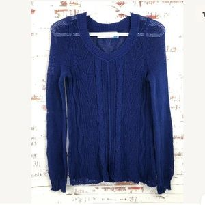 Sparrow Anthropologie Blue Cable Knit Sweater